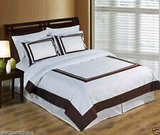 White & Brown Wrinkle Free Combed Cotton Hotel Duvet Cover Bedding Set -ALL SIZE