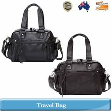 Mens PU Leather Travel Tote Shoulder Duffle Bag Large Gym Overnight Carry On