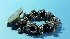Woman's Chunky Fashion  Bracelet - Black Silver - New Very Attractive