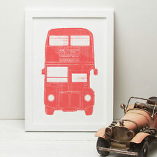 London Bus Illustrated Print - A3, A4 - With or WIthout Frame