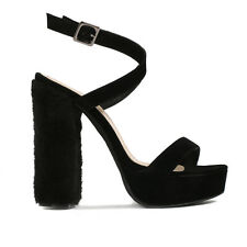 Womens Over Straps Chunky Block Heel And Buckle Platform In Black Faux Suede 3-8