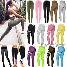 Women Yoga Fitness Leggings Running Gym Stretch Sports Pants Workout Trousers