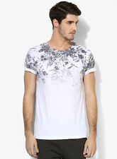 Burton White Printed Regular Fit Round Neck T-Shirt