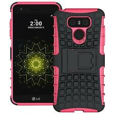 For LG G6 Tough Hybrid Armor Shockproof Protective Box Kickstand Hard Case Pink