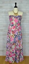 S-M-L Strapless Floral Pink Maxi Dress Twisted Sweetheart Neckline Smocked Back