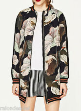ZARA WOMAN OVERSIZED PRINTED BOMBER JACKET 7891/433 SS17 floral multi color BNWT