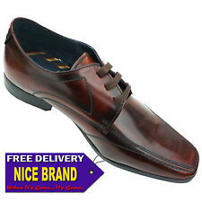Mens Base London Turnberry Hi Shine Formal Casual Leather Shoes Brown Size UK