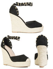 Womens Ladies Studded Ankle Wrap Strap Wedges High Heel Shoes Buckle Strap Size