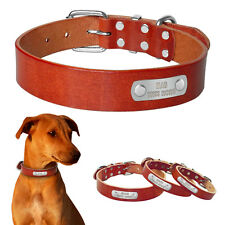 Personalized Genuine Leather Cat Dog Collar Free Engrave Name Plate ID S M L
