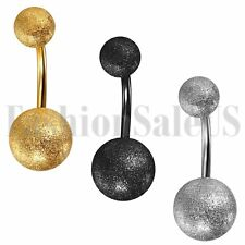 Surgical Steel Matte Ball Satin Belly Button Body Jewelry Piercing Navel Ring