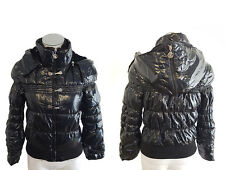 Girls Black Puffy Bubble Winter Jacket/Coat with Removable Hood - Size L