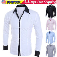 NEW Mens Casual Button Shirt Slim Fit Long Sleeve Casual Formal Dress Shirts