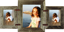 """Barn Wood Mixed Collage Rustic Picture Frame w Vertical 8"""" x 10""""  2- 5 """"x 7"""""""
