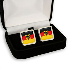 GERMANY FLAG COAT OF ARMS MEN'S CUFFLINKS + GIFT BOX ENGRAVING