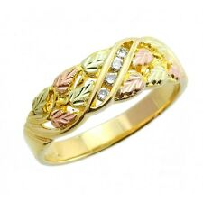 10K Black Hills Gold Ladies Diamond Ring by Mt. Rushmore Size 4 to 10