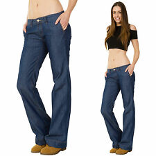 New Womens Dark Blue Low Rise Hipster Lightweight Flares Flared Bellbottom Jeans