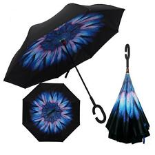 C-Shaped Hands free Handle Double Layer Windproof Inverted Folding Umbrella *
