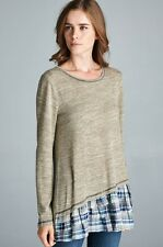 NWT Oddi Anthropologie Heather Olive Knit w/ Plaid Double Ruffle Top SZ S-M-L