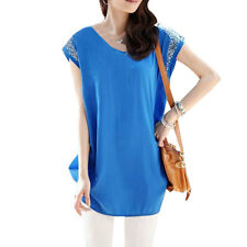 Ladies Scoop Neck Short Sleeve Casual Loose Tunic Shirt