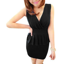 Ladies Deep V Neck Sleeveless Ruched Detail Casual Dress