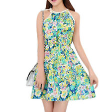 Ladies Halter Neck Sleeveless Self Tie Strap Casual Floral Dress