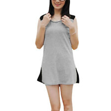 Ladies Scoop Neck Sleeveless Padded Shoulder Stretchy Loose Tunic