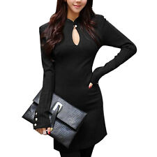 Ladies Zip Closure Back Long Sleeves Unlined Sheath Dress