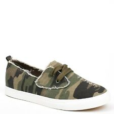 New Womens  Military Army Green Printed Canvas Slip-On Sneakers Pumps Shoes UK