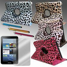 "SAMSUNG GALAXY TAB2 7"" LEOPARD ROTATING STAND CASE + SCREEN PROTECTOR + STYLUS"