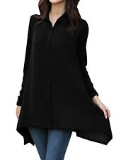 Lady Point Collar Long Sleeve Single Breasted Spliced Tunic Shirt