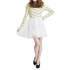 Lady Long Sleeve Lace Patchwork Collar Tiered Ruffled Hem Dress