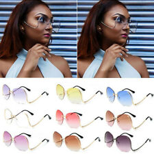 2017 Women Fashion Optics Metal Frame Eyewear Oversized Round Rimless Sunglasses