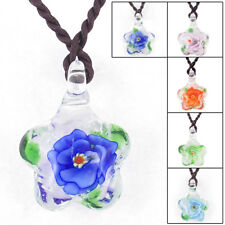 Lady Braided Rope Flower Grass Inside Star Shaped Glass Necklace