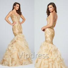 Champagne Sweetheart Evening Dresses Lace Appliques Ruffles Formal Prom Gowns