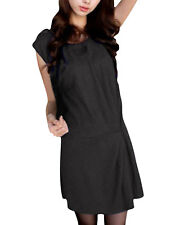 Women Elastic Waist Sleeveless Scoop Neck Tunic Dress