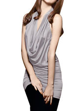Women Clubwear Cowl Neck Bare Back Stretchy Sexy Tunic Shirt