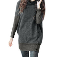 Lady Turtle Neck Batwing Sleeves Button Closed Side Ribbed Design Tunic Dress