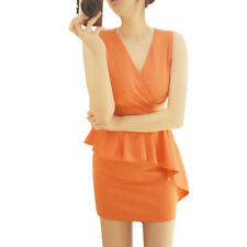 Lady V Neck Sleeveless Flouncing Form-fitting Summer Dress