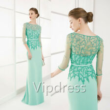 Mother Of The Bride Dresses 3/4 Sleeve Beads Lace Applique Formal Evening Gowns