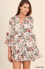 NWT Umgee Anthropologie Orange Red Floral Bell Sleeve Lace Detail Dress SZ S-M-L