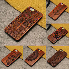 Natural Carved Wood Wooden Pattern Hard Case Cover For iPhone 5S SE 6 6S 7 Plus