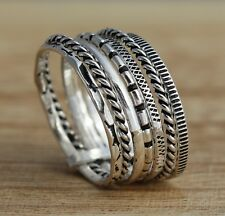 Solid 925 Sterling Silver Oxidized 11mm Band Ring 7 Stacking Rings Various Sizes