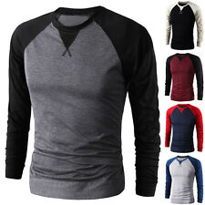 New Mens Casual Cotton Slim Fit T-Shirt Crew Neck Long Sleeve Shirts Jumper Tops