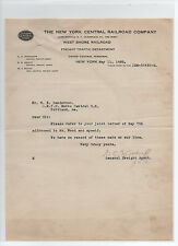 New York Central Railroad 1920 letter signed by freight agent Graham C. Woodruff
