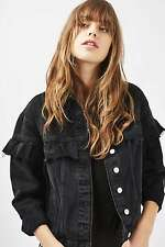 TOPSHOP *Washed Black MOTO Frill Denim Jacket* SIZE_UK6_8_10_12_14_16