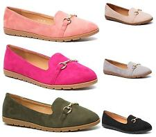 New Ladies Flat Dolly Ballerina Ballet Pumps Womens Faux Suede Shoes Size 3-8