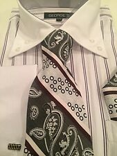 White  striped   French Cuff Mens Dress Shirt With Matching Tie And Handkerchief