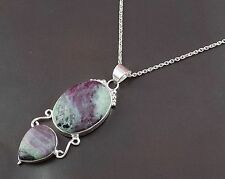 Natural Ruby Zoisite Oval and Pear Shape Gemstone 925 Sterling Silver Pendant