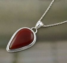 AAA Red Onyx Cabochon 18x31mm Pear Shape Gemstone 925 Sterling Silver Pendant