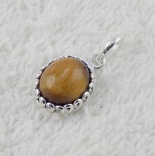 Natural AAA Tiger Eye Oval Shape 10x12mm Gemstone 925 Sterling Silver Pendant